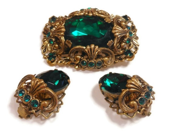 Green art glass brooch and earrings, 1950's West Germany signed emerald green art glass brooch and earrings