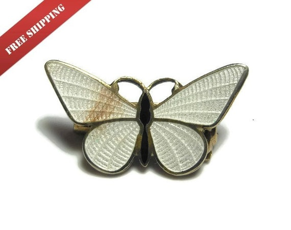 Guilloché butterfly scatter pin, 1950's small white and black enamel guilloché brooch, gold trim