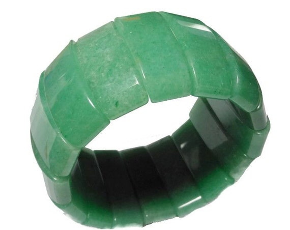 Green Aventurine bracelet carved chunky stretch vintage