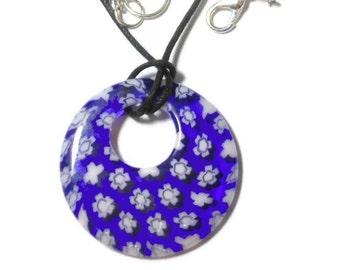 Millefiori glass pendant, 30mm round blue background, white flowers, round go-go on black cord, silver plated findings, handmade, handmade