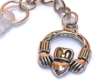Party gifts, set of 5 Claddagh phone charm, Irish good luck, silver chain dangle, clear dust plug, Kindle notebook headphone, wedding party