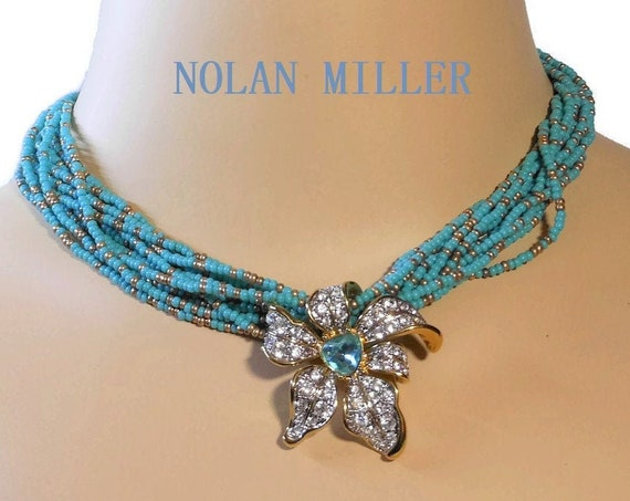"""Nolan Miller floral torsade choker,  """"Blooming Blue"""" multi strand blue beads with removable slide pendant of clear and blue rhinestones"""