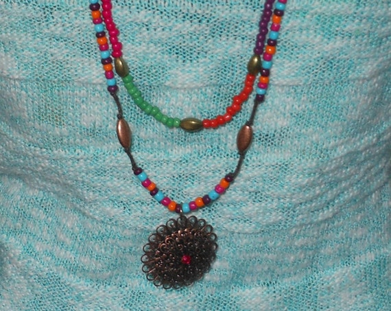 Long Boho necklace, glass beaded hippie, antique brass finish acrylic & metal, hot pink purple green light blue orange