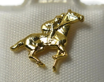 Gold jockey tie tack, lapel pin, great gift for the horse lover, plenty for a club, NOS new old stock