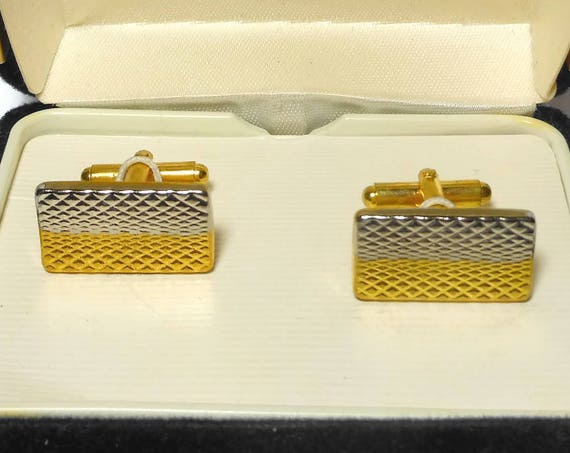 Geoffrey Beene cuff links, gold and silver textured rectangle cufflinks in original box vintage, wedding perfect!