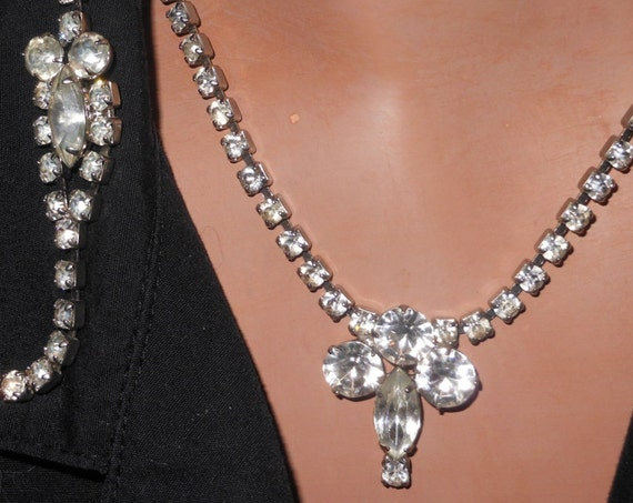 Clear rhinestone necklace and bracelet prong set demi parure set with navette focus stones