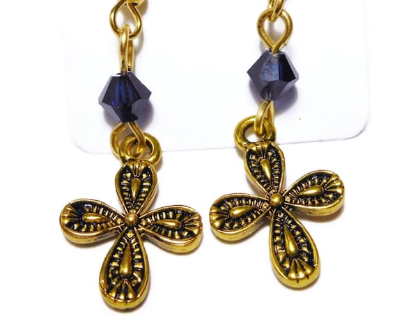 Small cross earrings, gold tone ornate crosses, gold plated french wires, sapphire blue Swarovski crystals, dangle earrings