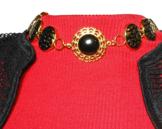 Black onyx choker necklace, handmade necklace, gold plated choker, oval links, black enamel, black onyx cabochon center
