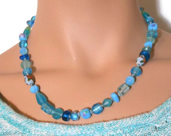 Blue beaded necklace, glass and porcelain mix with lampwork beads for a charming look, vintage handmade