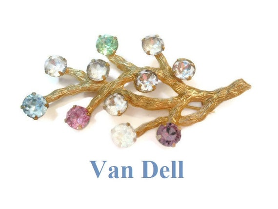 Van Dell tree of life brooch, 1/20 12kt gold filled  with prong set rhinestones 1950s early 60s