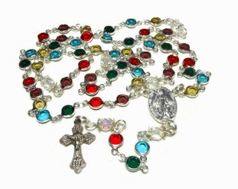 Caged bead rosary, handmade, crystal beads, facet Czech aurora borealis (AB) Paters, silver plated, Crucifix Miraculous Medal, handmade