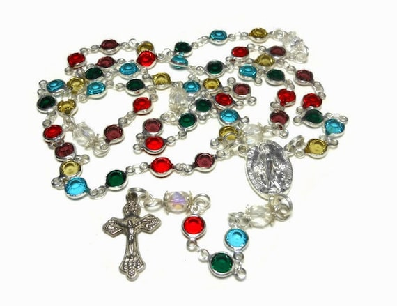 Caged bead rosary, handmade, crystal beads, facet Czech aurora borealis (AB) Paters, silver plated, Crucifix Miraculous Medal