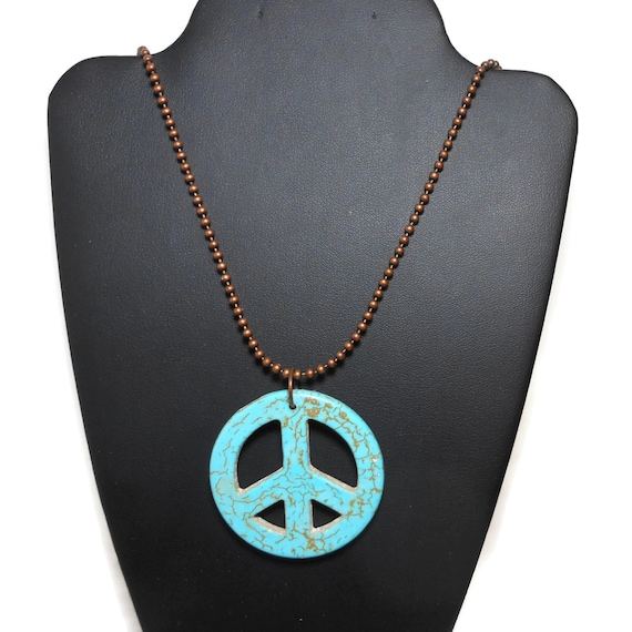 Turquoise peace symbol pendant, faux howlite necklace, your choice or take both, share with friend, industrial chic, bronze ball chain
