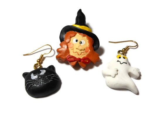 Halloween brooch and earring set, ceramic witch brooch, ghost and black cat earrings on gold tone french hooks probably plated