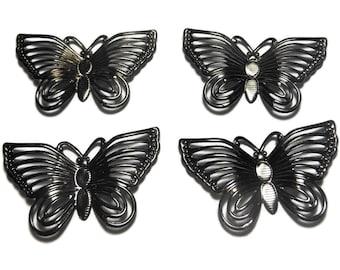 Gunmetal butterfly focal, 30x18mm single-sided fancy butterflies, sold per pkg of 4, butterfly charm pendant drop, insect bug