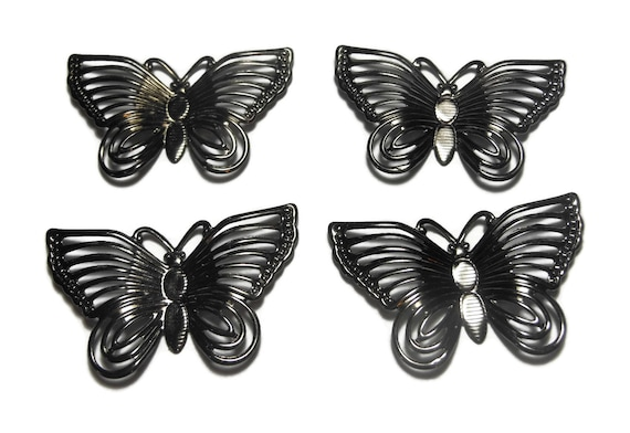 Gunmetal butterfly focal, 30x18mm single-sided fancy butterflies, sold per pkg of 4, butterfly charm pendant drop, insect bug