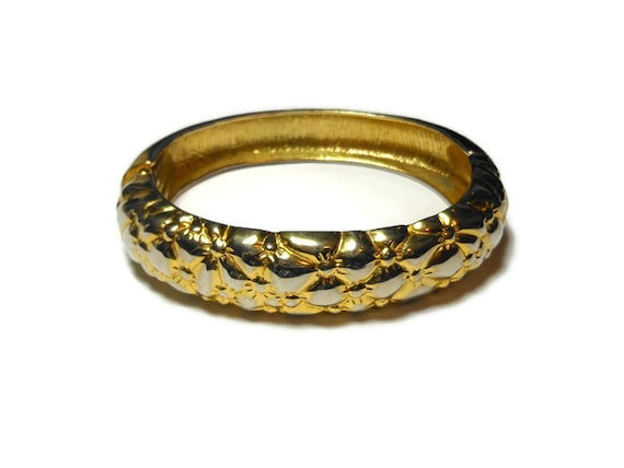 Floral embossed bracelet, floral pattern gold plated embossed hinged cuff clamper bracelet, statement piece vintage