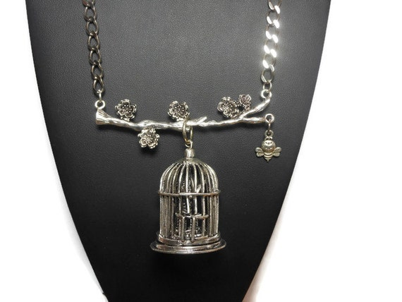 Large birdcage pendant, antiqued silver-finished, 42x36mm birdcage focal, on a branch with flowers with a dangling bumble bee necklace