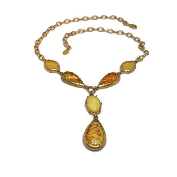 Carolina Herrera necklace, golden amber faceted teardrops, faceted yellow teardrops, gold chain, signed CH, runway Y necklace