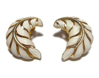 Crown Trifari earrings, 1950s early 60s leaf, gold clip earrings, white enamel over gold