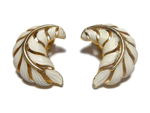 Crown Trifari earrings, 1950s early 60s leaf, gold clip earrings, white enamel over gold