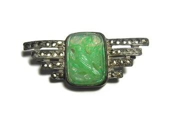 Antique Peking glass brooch, bird brooch bar pin, Art Nouveau circa 1910, pot metal with marcasite, light green with cut outs