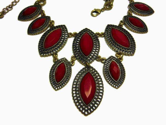Red bib necklace, ruby red necklace, marquise cut cabochons, lucite red beads, gold chain, filigree frames, Dynasty Show Girl Drag runway