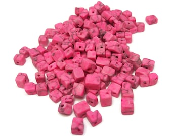 Pink marble beads, 4x4mm-9x5mm cube, approximately 200 beads