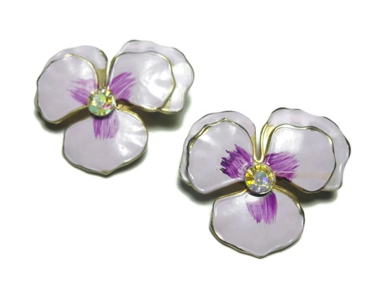 Pansy scatter pins, pink violet and purple enamel brooch, aurora borealis (AB) rhinestone center, set of two, small gold tone