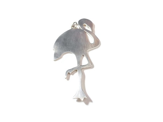 "Sterling stork pendant, vintage handmade, unmarked 925 sterling silver, large 3 1/4"" tall"
