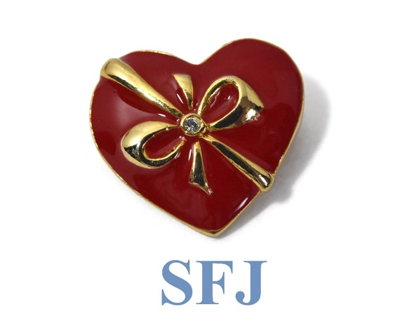 SFJ heart brooch, signed designer heart with a bow brooch, red enamel with a gold enamel bow and rhinestone center