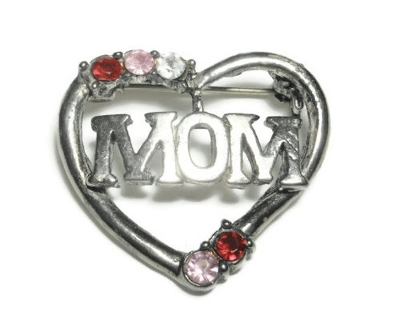 FREE SHIPPING Mom heart brooch - Silver plate with red, pink and clear rhinestones
