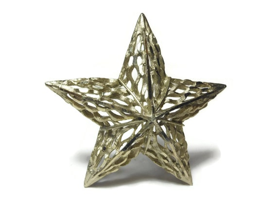 Silver star brooch pin, large silver cut work starwith bruched  inside lines and shiny frame work lines.