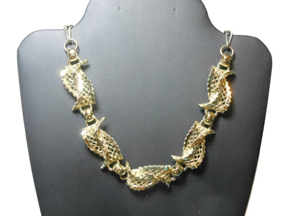Gold filigree link choker, swirled open work links finished with gold tone chain, adjustable chain