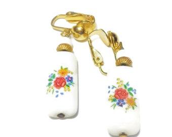 Floral porcelain earrings, roses daisy flower, clip earrings, gold tone tubular