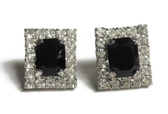 Rectangular rhinestone earrings, small faux onyx prong set baguette surrounded by prong set rhinestones, post pierced earrings