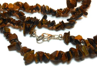 Tiger's eye necklace, chip single strand, semi precious gemstone necklace, choice of silver or gold plating.