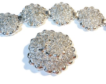 Filigree bracelet and brooch or pendant, cut work large silver plated floral demi parure brooch or pendant and 5 panel link bracelet
