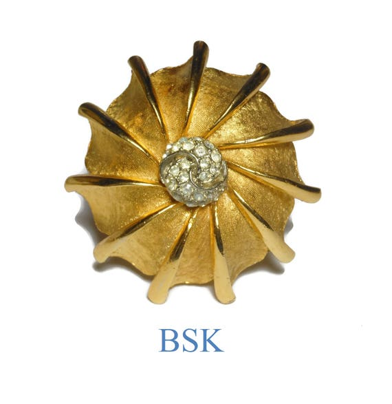 BSK Nautilus Dome Brooch, Gold Pave Clear Rhinestone Center, matte & shiny gold finish, large pin
