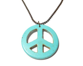 Turquoise peace symbol pendant, faux howlite necklace, industrial chic, bronze ball chain, handmade