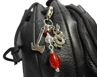 Dice bag clasp, battle axe or war hammer, dragon, Swarovski crystal, lampwork bead, AB bead, silver heart clasp, zipper pull