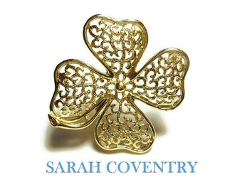 Sarah Coventry brooch, 'Filigree Clover' from the 1970s, gold filigree shamrock brooch, four leaf clover, good luck pin