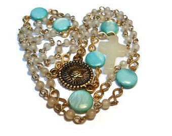 Catholic rosary  'Immaculate Heart' with vintage beads, turquoise blue Our Fathers, quartz cross, gold plated center, handmade