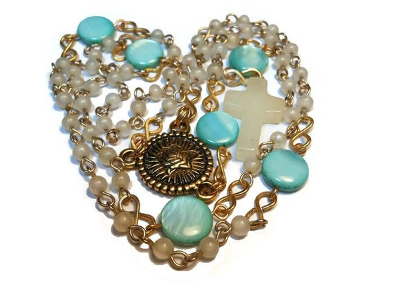 Catholic rosary  'Immaculate Heart' with vintage beads, turquoise blue Our Fathers, quartz cross, gold plated center