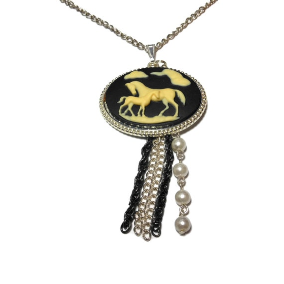 Horse colt pendant necklace, black cream oval, filly mother foal, chain braided cord, dangle glass pearls, silver black chain