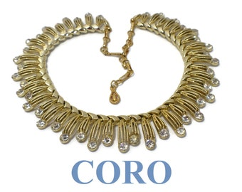 Coro rhinestone choker, adjustable gold plated openwork drops, alternating length with rhinestone cabochons, clear bright no dead or dark