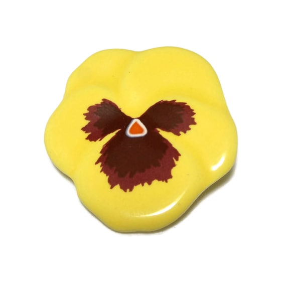 Avon floral brooch, yellow pansy pin, 1980s signed Avon, yellow and brown