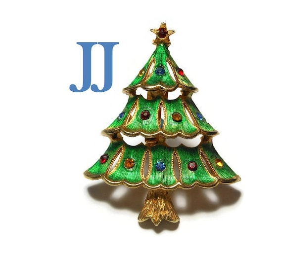 J.J. Christmas Tree Brooch, book piece, 1950 1960's green enamel over gold tone, rhinestone ornaments, rhinestone star topper