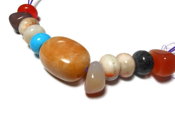 Bead multi-gemstone and glass mix of 11 beads, ranging from 12mm X 7mm to 16mm X 22mm