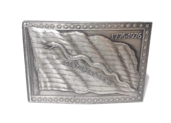 Bicentennial belt buckle, Don't Tread on Me, pewter belt buckle, 1776-1976 made in USA, Bergamot brass works, American flag buckle, snake